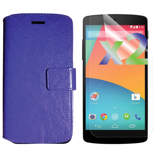 Exian LG Nexus 5x Fitted Soft Shell Case with Screen Protectors - Purple