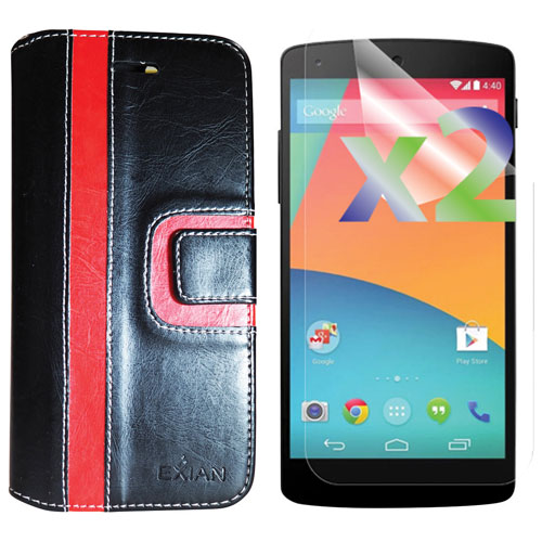 Exian LG Nexus 5x Fitted Soft Shell Case with Screen Protectors - Black/Red