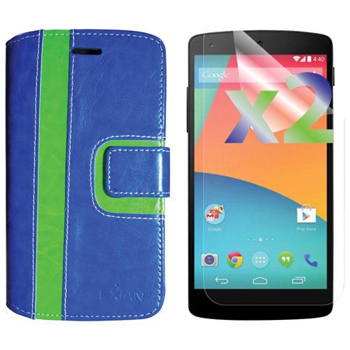 Étui souple ajusté avec protecteurs d'écran d'Exian pour Nexus 5X de LG - Bleu - Vert