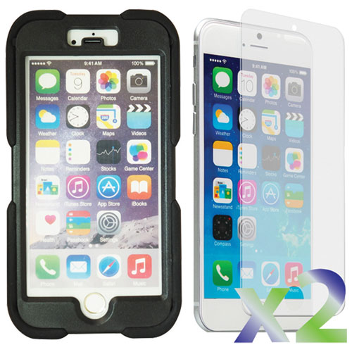 Exian iPhone 6 Fitted Soft Shell Stand Case with Screen Protectors - Black