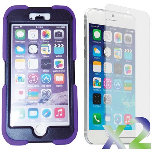 Étui souple ajusté d'Exian pour iPhone 6 avec protecteurs d'écran - Violet