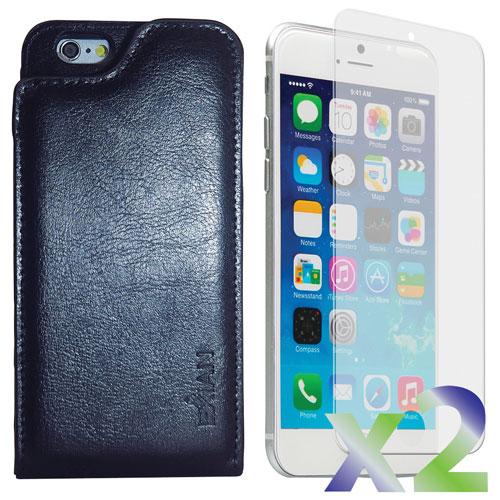 Étui souple ajusté en cuir d'Exian avec protecteurs d'écran pour iPhone 6 - Noir
