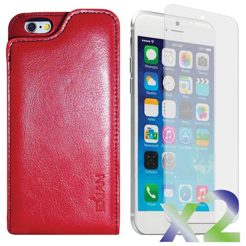 Étui souple ajusté en cuir d'Exian avec protecteurs d'écran pour iPhone 6 - Rouge