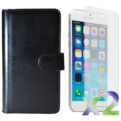 Exian iPhone 6 Fitted Soft Shell Cover Case with Screen Protectors - Black