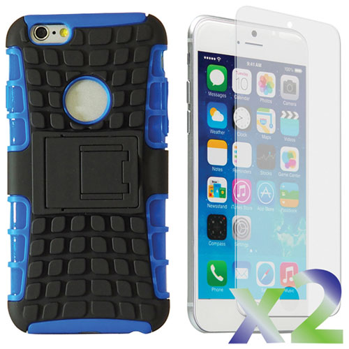 Exian iPhone 6 Plus Fitted Soft Shell Case with Screen Protectors - Blue/Black