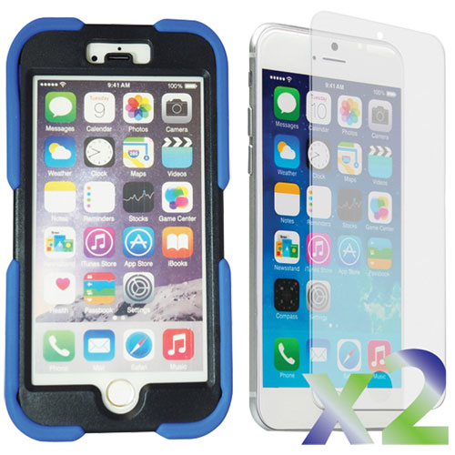 Exian iPhone 6 Plus Fitted Soft Shell Case with Screen Protectors - Blue