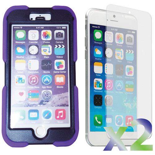 Exian iPhone 6 Plus Fitted Soft Shell Case with Screen Protectors - Purple
