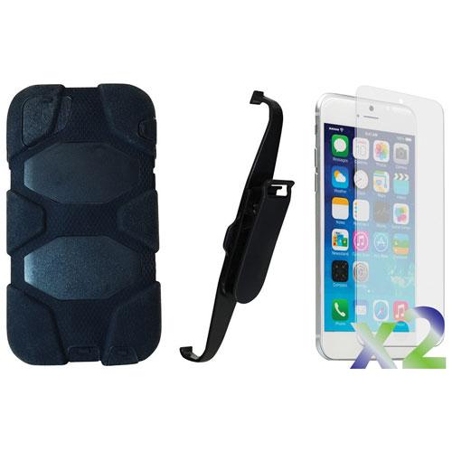Étui souple ajusté avec pince d'Exian pour iPhone 6 Plus et protecteurs d'écran - Noir