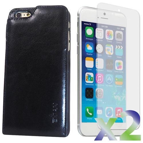 Étui souple ajusté en cuir d'Exian avec protecteurs d'écran pour iPhone 6 Plus - Noir