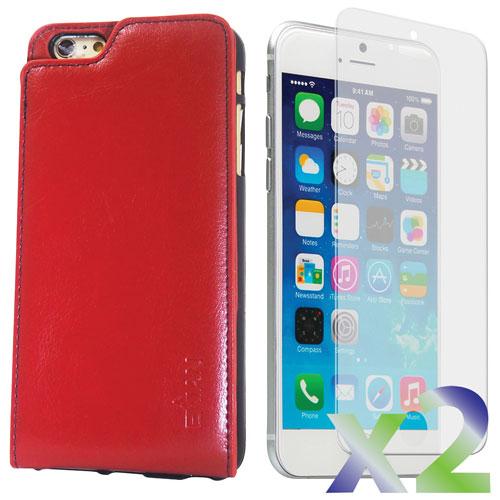Étui souple ajusté en cuir d'Exian pour iPhone 6 Plus avec protecteurs d'écran - Rouge