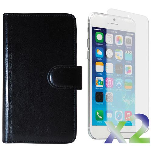 Étui souple ajusté à rabat d'Exian pour iPhone 6 Plus avec protecteurs d'écran - Noir