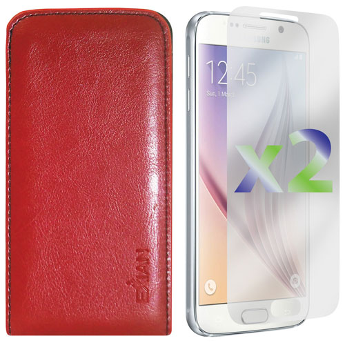 Exian Galaxy S6 Leather Fitted Soft Shell Case with Screen Protectors - Red