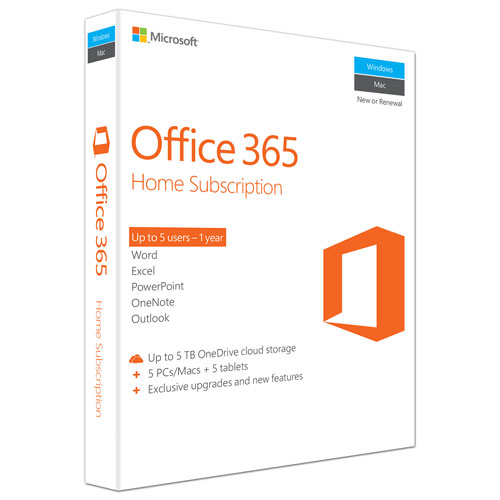 Microsoft Office 365 Home (PC/Mac) - 5 User - 1 Year - English - In-Store Only