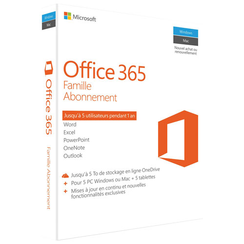 Microsoft Office 365 Home (PC/Mac) - 5 User - 1 Year - French - In-Store Only