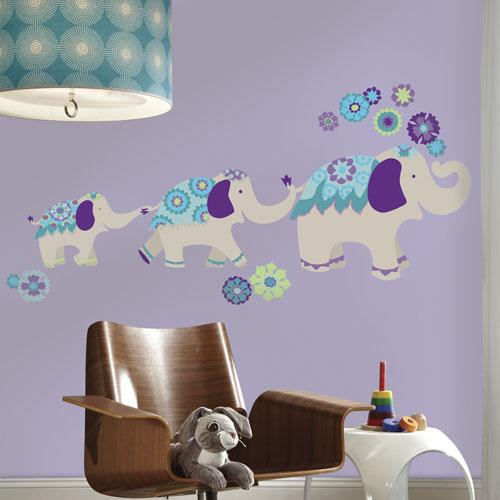 Décalcomanies murales adhésives géantes Waverly Éléphant de RoomMates - Gris - Bleu - Violet