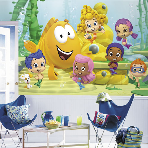 RoomMates Bubble Guppies XL Wallpaper Mural - Yellow/Green : Nursery ...