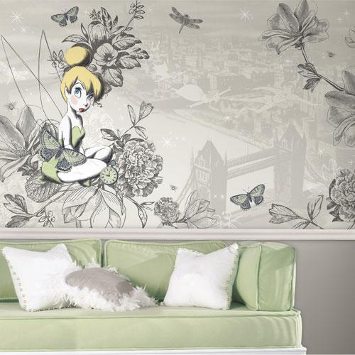 Murale préencollée géante de RoomMates - illustration rétro de la Fée Clochette - Gris/Vert