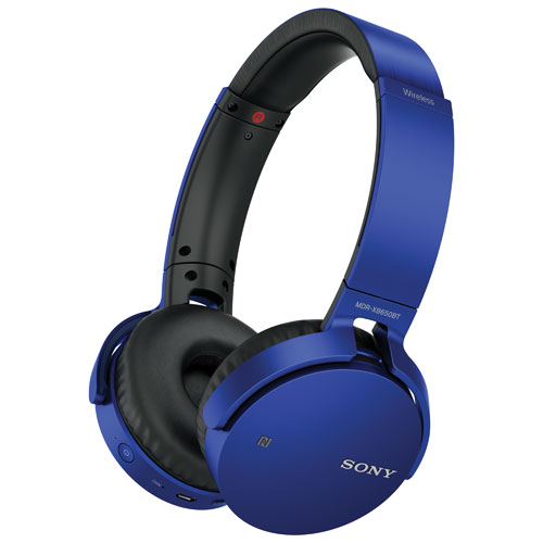 Sony Over-Ear Sound Isolating Wireless Headphones with Mic (MDRXB650BT/L) - Blue