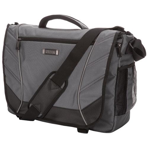 """Kenneth Cole Castlerock 17"""" Laptop Messenger Bag - Charcoal/Black"""