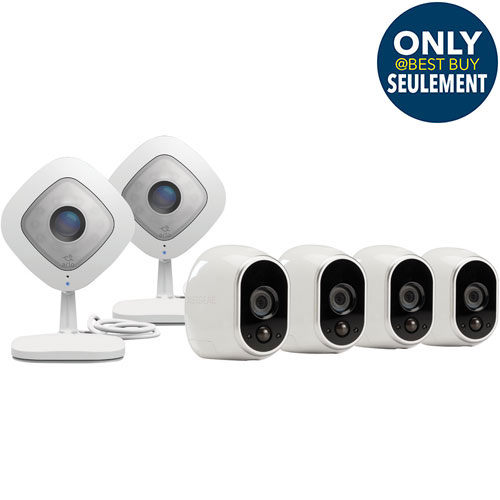 NETGEAR Arlo Security System with 4 Wire-Free 720p Cameras & 2 Q 1080p Cameras