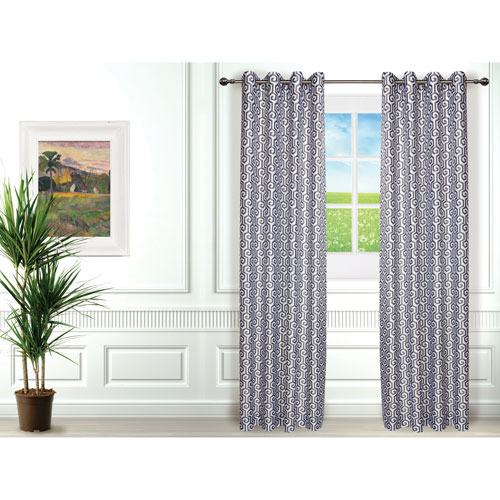 Gouchee Design Maze Curtain - Set of 2 - Grey/White