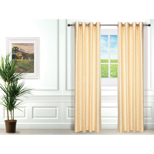Gouchee Design Maze Curtain Set Of 2 Yellow White