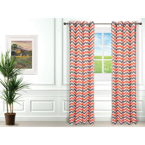 Gouchee Design Selena Curtain - Set of 2 - Coral/Grey/White