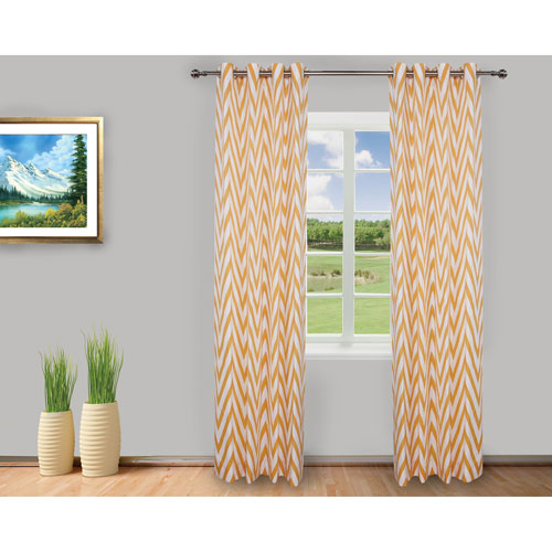 Gouchee Design Chevron Curtain - Set of 2 - Yellow/White