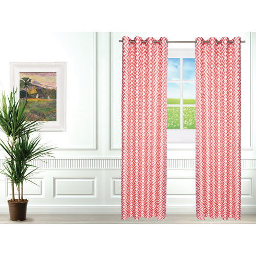 Gouchee Design Chelsea Curtain - Set of 2 - Coral/White