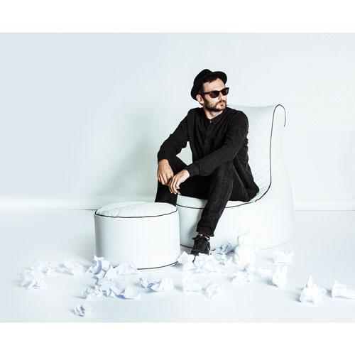 Fauteuil poire contemporain en similicuir Swing Modo Tap - Blanc