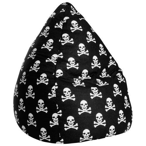 Contemporary Totenkopf OEKO-TEX-Certified Cotton Bean Bag Chair - Black/White