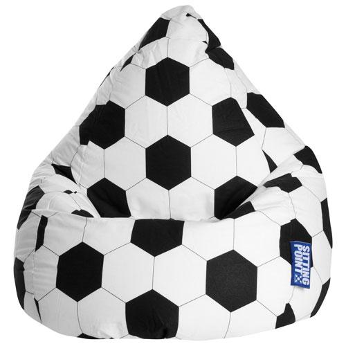 Fauteuil poire contemporain Fussball en coton certifié OEKO-TEX - Noir - Blanc
