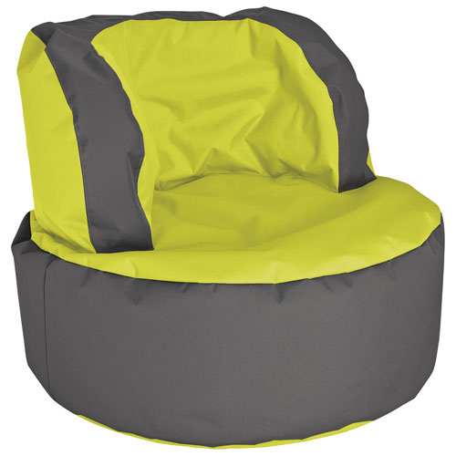 Contemporary Bebop Polyester Bean Bag Chair - Green/Charcoal