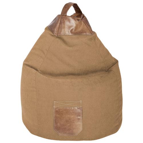 Contemporary Jamie Microsuede Bean Bag Chair - Sand/Beige