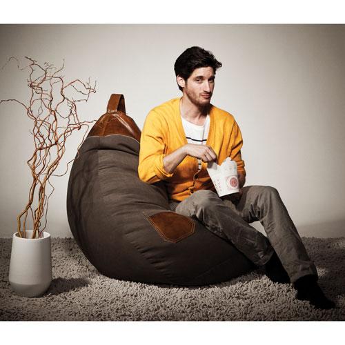 Contemporary Jamie Microsuede Bean Bag Chair - Brown