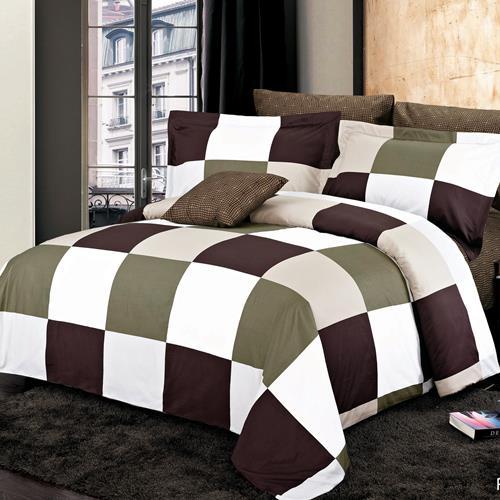 North Home Park Brown 100% Cotton 4 PC Duvet Cover Set(Twin)