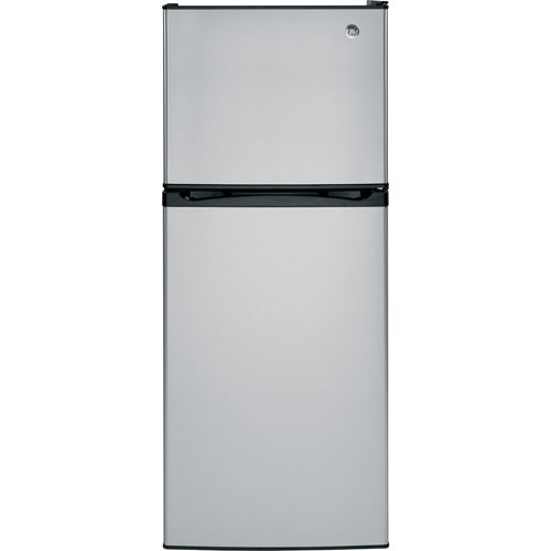 "GE 24"" 11.6 Cu. Ft. Top Freezer Refrigerator with LED Lighting (GPE12FSKSB) - Stainless Steel"