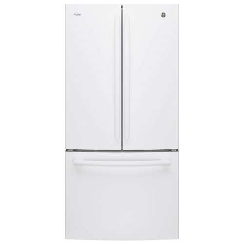 "GE 33"" 24.8 Cu. Ft. French Door Refrigerator with LED Lighting (PNE25JGKWW) - White"