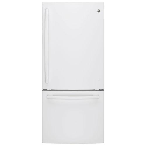 "GE 30"" 20.9 Cu. Ft. Bottom Mount Freezer Refrigerator with LED Lighting (GBE21AGKWW) - White"