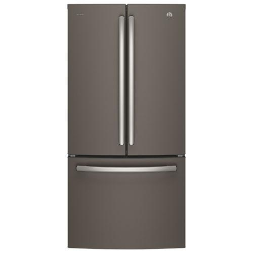 Réfrigérateur à deux portes avec éclairage DEL 24,8 pi3 33 po de GE (PNE25JMKES) - Ardoise