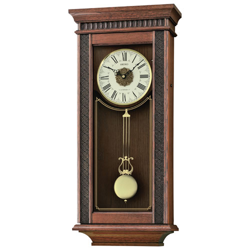 Seiko Wooden Musical Wall Clock - Brown/White