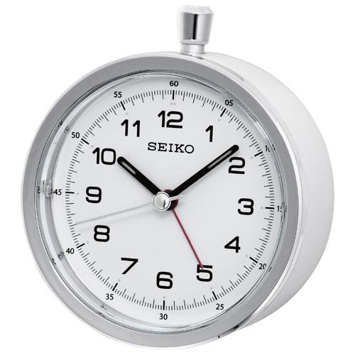 Seiko Analog Tabletop Alarm Clock - White/Grey (QHE088W)