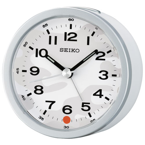 Seiko Analog Alarm Clock (QHE096T) - White