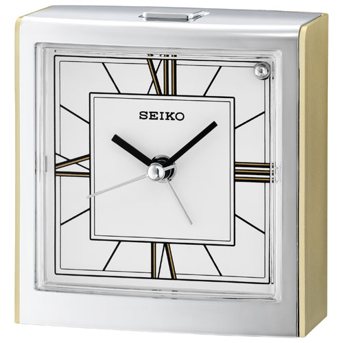 Réveille-matin analogique de table de Seiko - Doré-blanc
