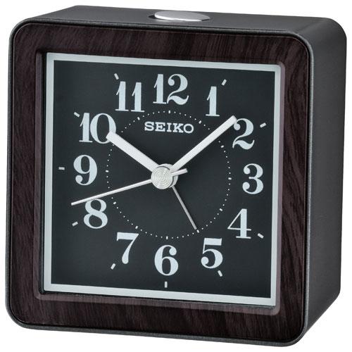 Réveille-matin analogique de table de Seiko - Brun-noir