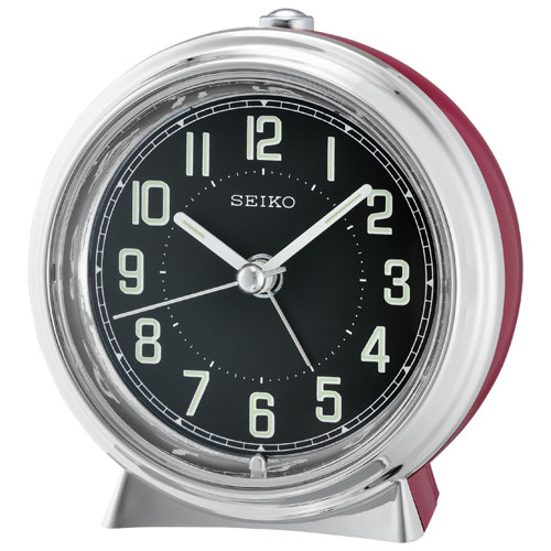 Seiko Analog Tabletop Alarm Clock - Red/Black (QHE133R)