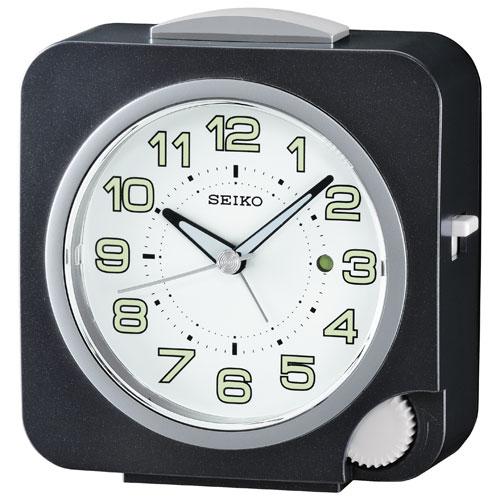 Réveille-matin à réglage avant avec alarme et aiguilles LumiBrite de Seiko (QHE095K) - Noir