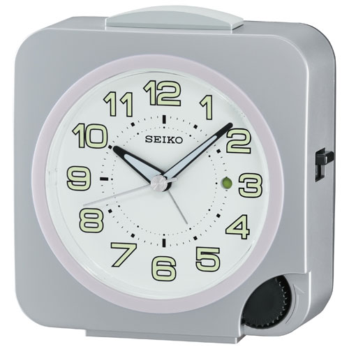 Seiko Front-Setting Alarm Clock with LumiBrite Hands - Silver (QHE095S)