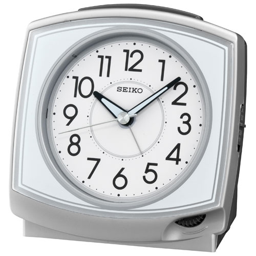 Seiko Bell Alarm Clock with LumBrite Hands - Silver