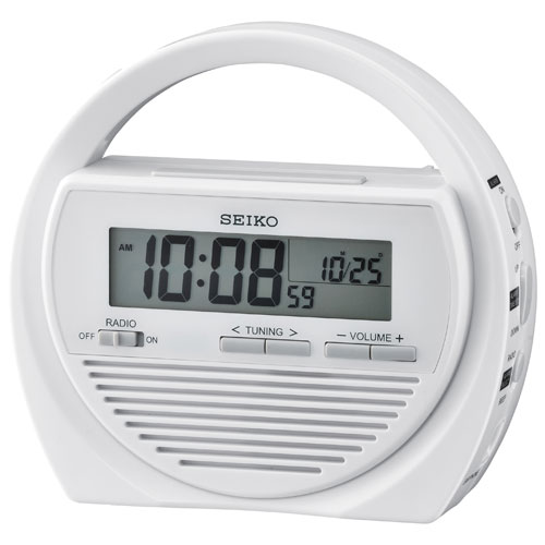 Seiko Rechargeable Digital Alarm Clock with FM Radio - White